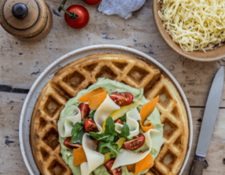 Entremont French Emmental cheese waffles with guacamole topping