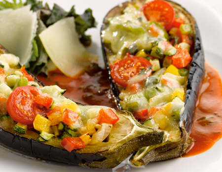 Stuffed aubergine and grilled vegetable gratin with Comté cheese