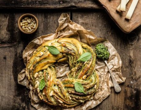 Plaited loaf with Saint Mont des Alpes cheese and pesto