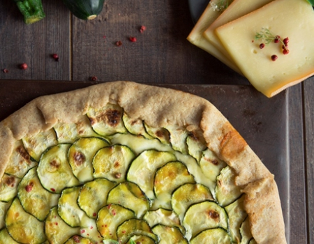 Farmhouse courgette and Entremont Raclette cheese tart